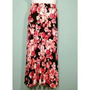 Jessica London Stretch Jersey Floral Maxi Skirt